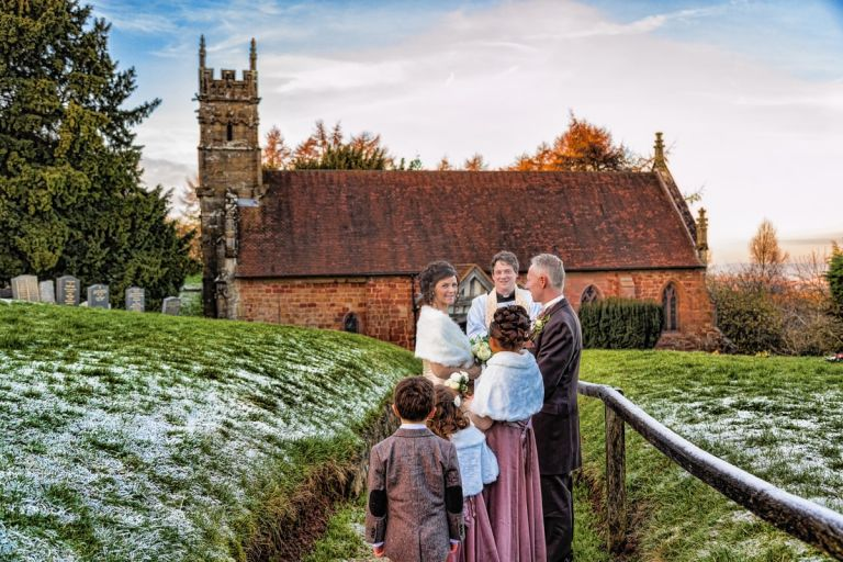 St Kenelm Church wedding in the frost by Birmingham Wedding Photography -What a Picture Photography