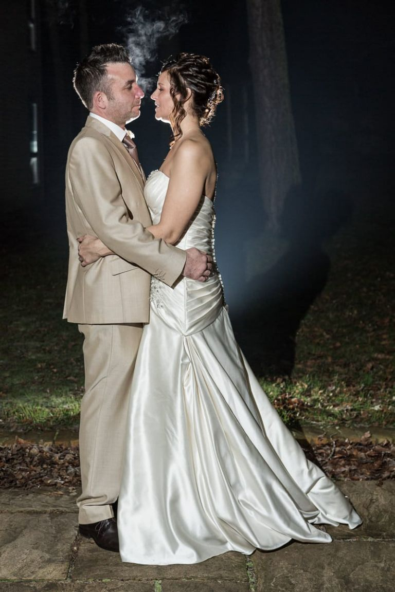 The happy couple brave the frosty evening at the Gainsborough House Hotel in Kidderminster